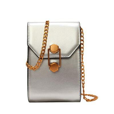 肩背包手拿小方包-鍊條漆皮時尚手機包女包包4色73fc359【獨家進口】【米蘭精品】 0