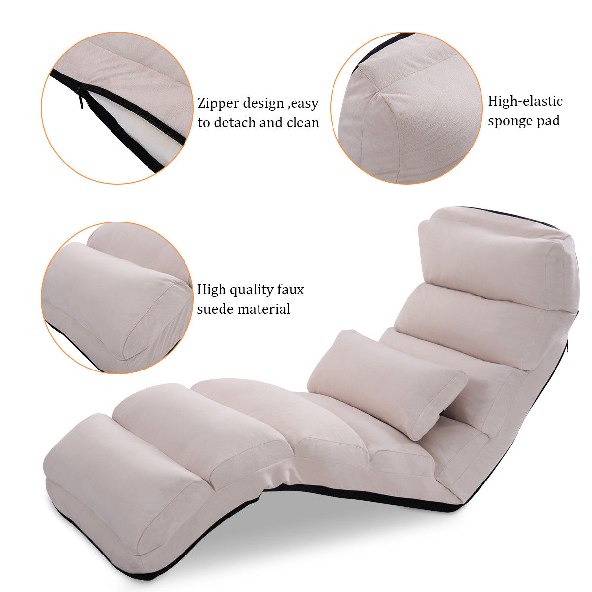 Costway Beige Folding Lazy Sofa Chair Stylish Sofa Couch Beds Lounge Chair  W/Pillow