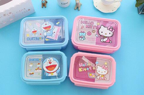 卡通可愛塑膠微波爐飯盒 長方形密封盒冰箱收納盒分隔便當保鮮盒