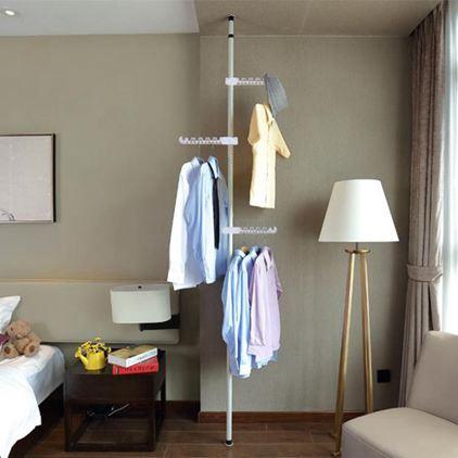 頂天立地掛衣架落地臥室家用經濟型晾衣架衣帽架掛包架置衣架簡易