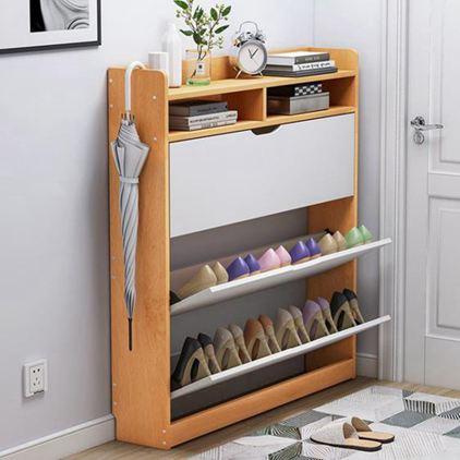 翻斗鞋櫃17cm超薄家用門口簡約玄關陽臺簡易多層仿實木多層窄鞋架
