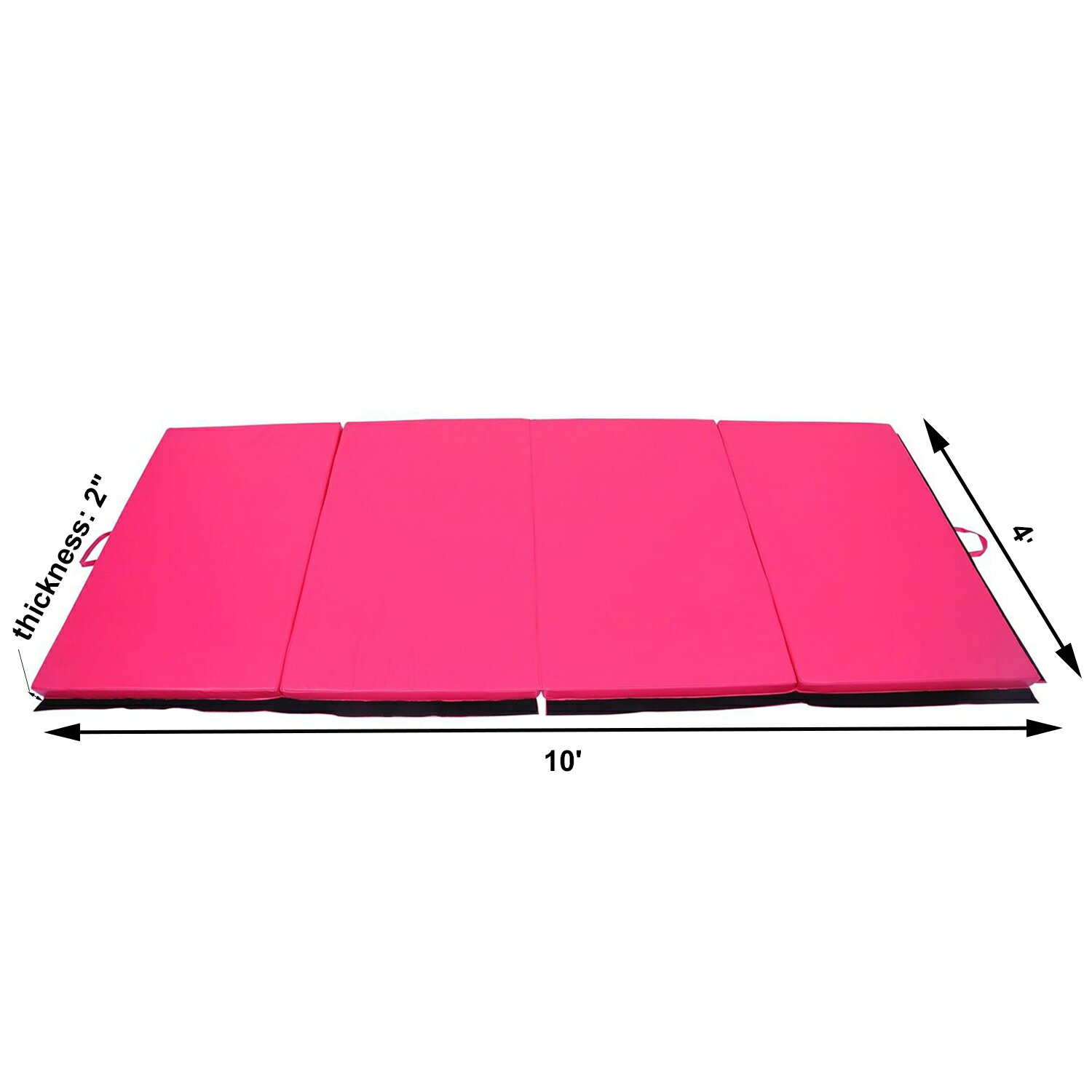 "Soozier 10' x 4' x 2"" PU Leather Folding Gymnastics Tumbling / Martial Arts Mat with Handles - Pink 1"