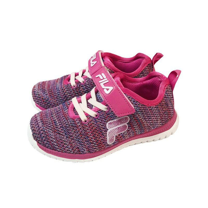 FILA 2-J828S-999舒適鞋 墊輕量鞋 魔鬼氈 針織中大童 慢跑 運動休閒鞋