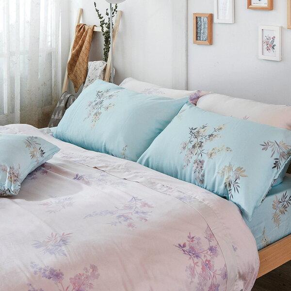 戀家小舖:床包雙人-100%純天絲【芙柔花絮-藍】40支天絲,含兩件枕套,戀家小舖