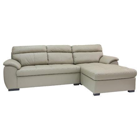 ◎(OUTLET)半皮左躺椅L型沙發 CAPUCCINO BE 福利品 NITORI宜得利家居 2