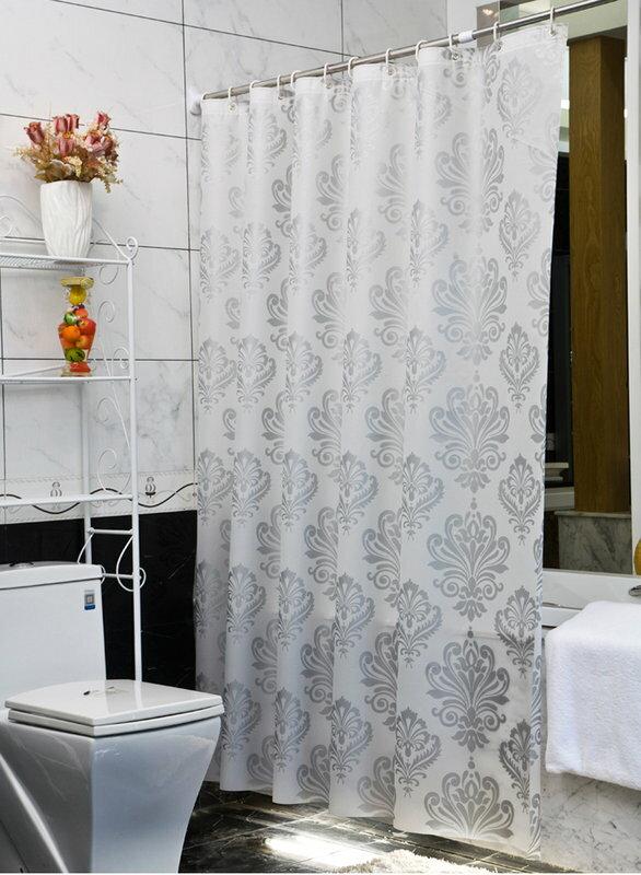 《喨晶晶生活工坊》正品 歐式奢華圖騰 PEVA 180*180金屬扣眼防水浴簾 隔間簾門簾 阻擋冷氣暖氣、贈掛勾 特價
