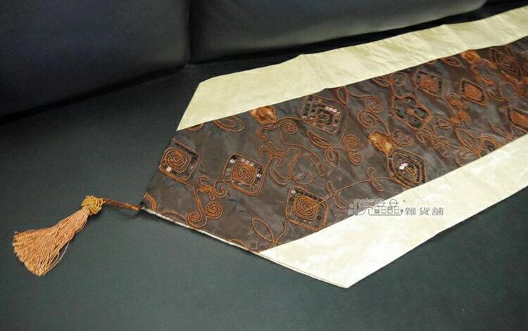 ~喨晶晶 工坊~ 精緻^~深咖啡絲質亮片刺繡流蘇桌旗.桌巾↘ 250元