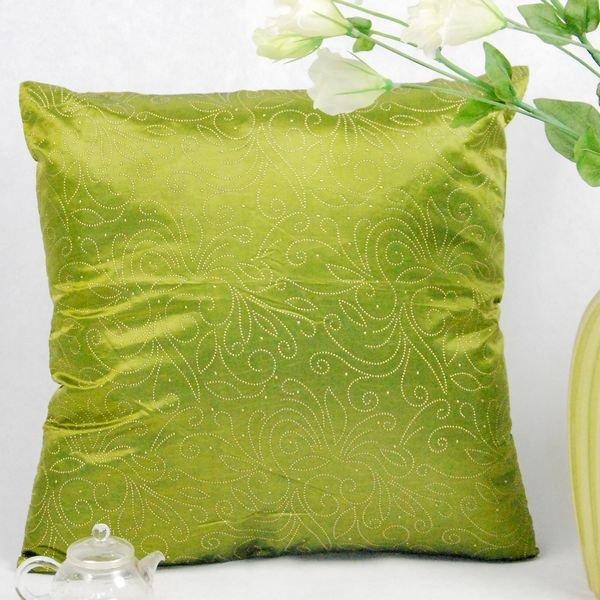 《喨晶晶生活工坊》傢飾~復古風 綠金絲質點金抱枕套/靠枕套 45*45CM 4色↘$75元