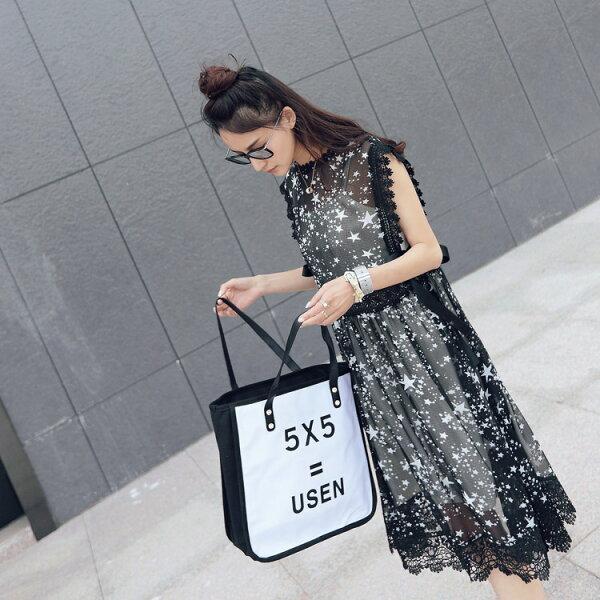 現貨限定![全店免運] 細肩帶+雪紡連身裙 洋裝 二件套裝/  樂天時尚館