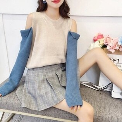 針織毛衣露肩打底衫-韓版時尚新款熱銷拼色女罩衫3色73tp33【獨家進口】【米蘭精品】