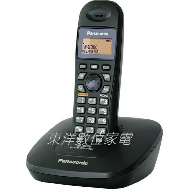 Panasonic 國際牌 2.4GHz數位式無線電話KX-TG3611 黑色 馬來西亞製 免持擴音通話