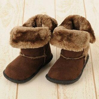 現貨 日本帶回 19cm 咖啡色 單扣防滑可外翻雪靴 兒童雪靴