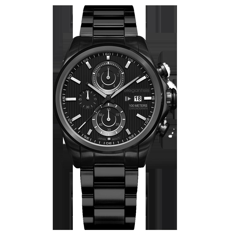 elegantsis--競速冒險因子三環計時不鏽鋼腕錶 個性黑-- ELJT42R-6B07MA---45mm