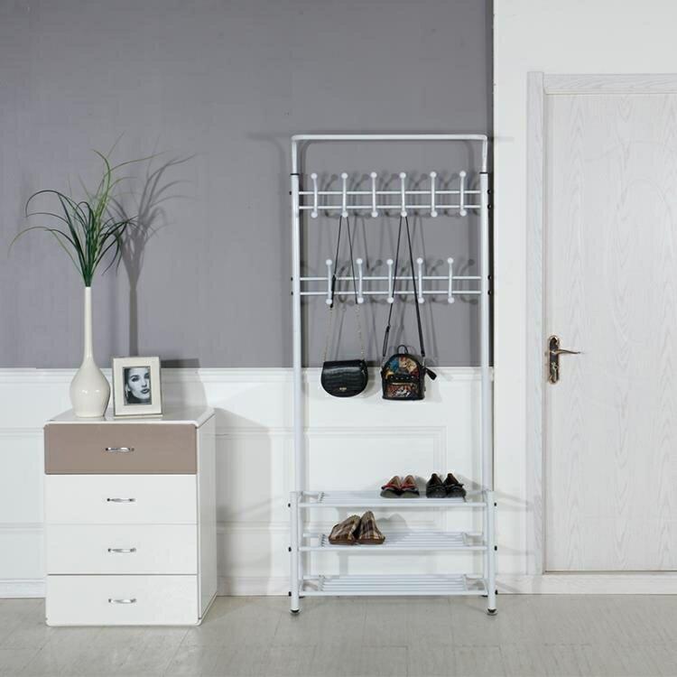【夏日上新】鐵藝易落地換鞋架組合臥室衣櫃衣帽架衣架鞋櫃一體 多功能 簡易
