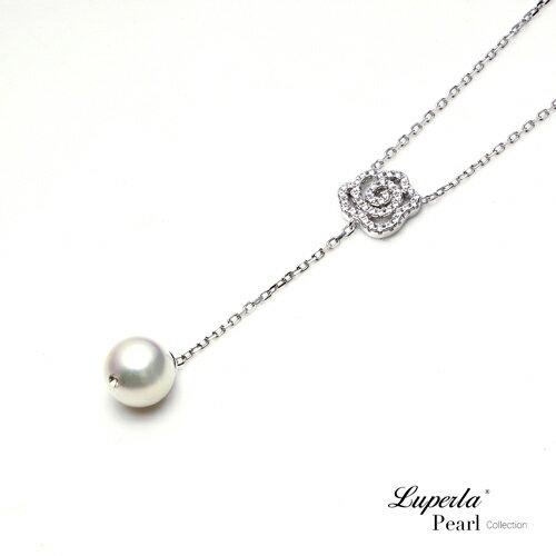 大東山珠寶 優雅白玫瑰 日本AKOYA天然海水珍珠純銀晶鑽項鍊 2