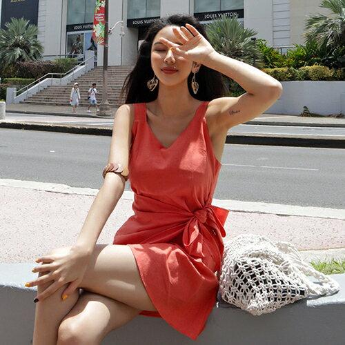 PS Mall 假二件式無袖背心連身裙 收腰V領洋裝【T649】 0