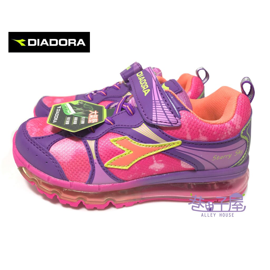 【巷子屋】義大利國寶鞋-DIADORA迪亞多納 女童4D印刷全童掌型大氣墊運動慢跑鞋 [3057] 粉紫 超值價$498
