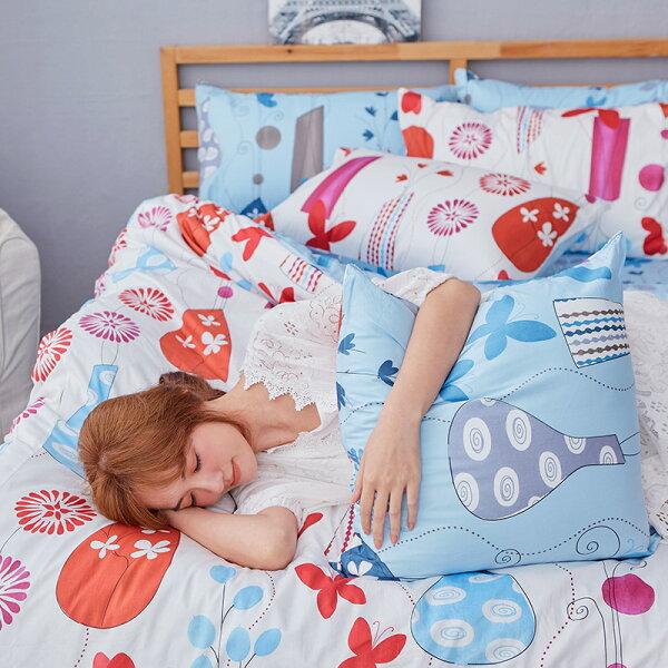 床包被套組雙人加大-100%精梳棉【花都香榭-紅】含兩件枕套,戀家小舖,台灣製
