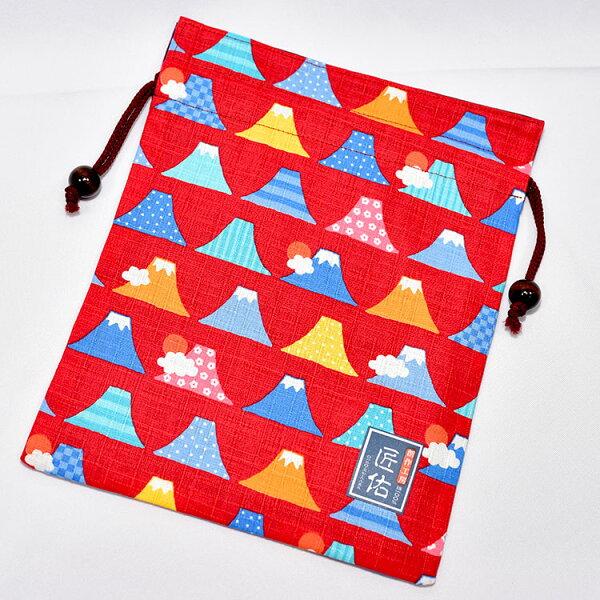 花紋富士山綿質束口袋匠佑日本製