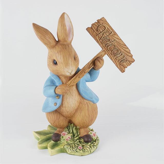 《Annie's Friends 比得生活館》Peter Rabbit 比得兔welcome立兔存錢筒/40CM 精緻 俏皮 傢飾