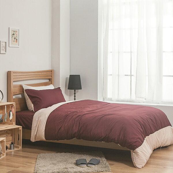 床包雙人-100%精梳棉【雙色系列-棗粉】含兩件枕套,戀家小舖,台灣製SS01-AAA201