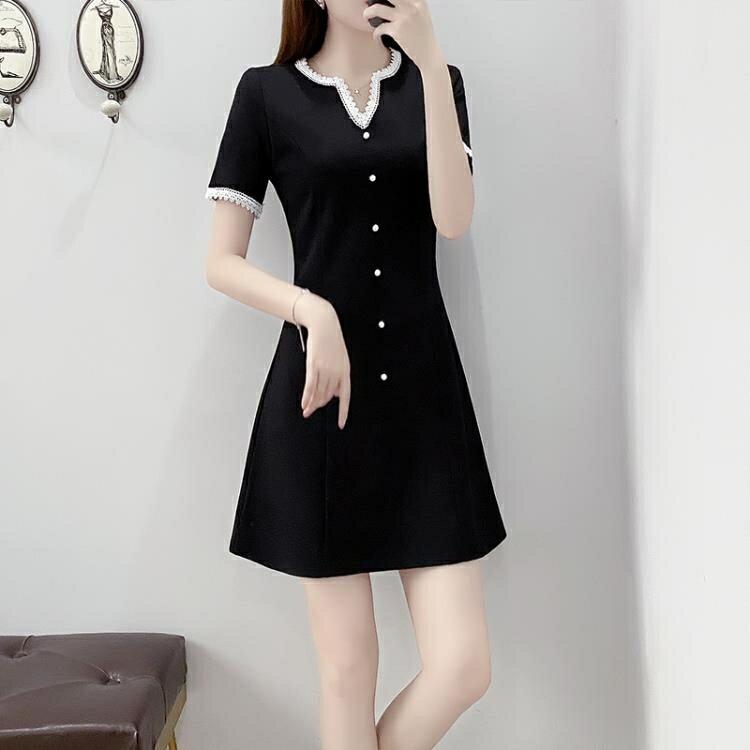 法式洋裝 大碼女裝洋氣減齡法式收腰短袖連身裙赫本風小黑裙【顧家家】
