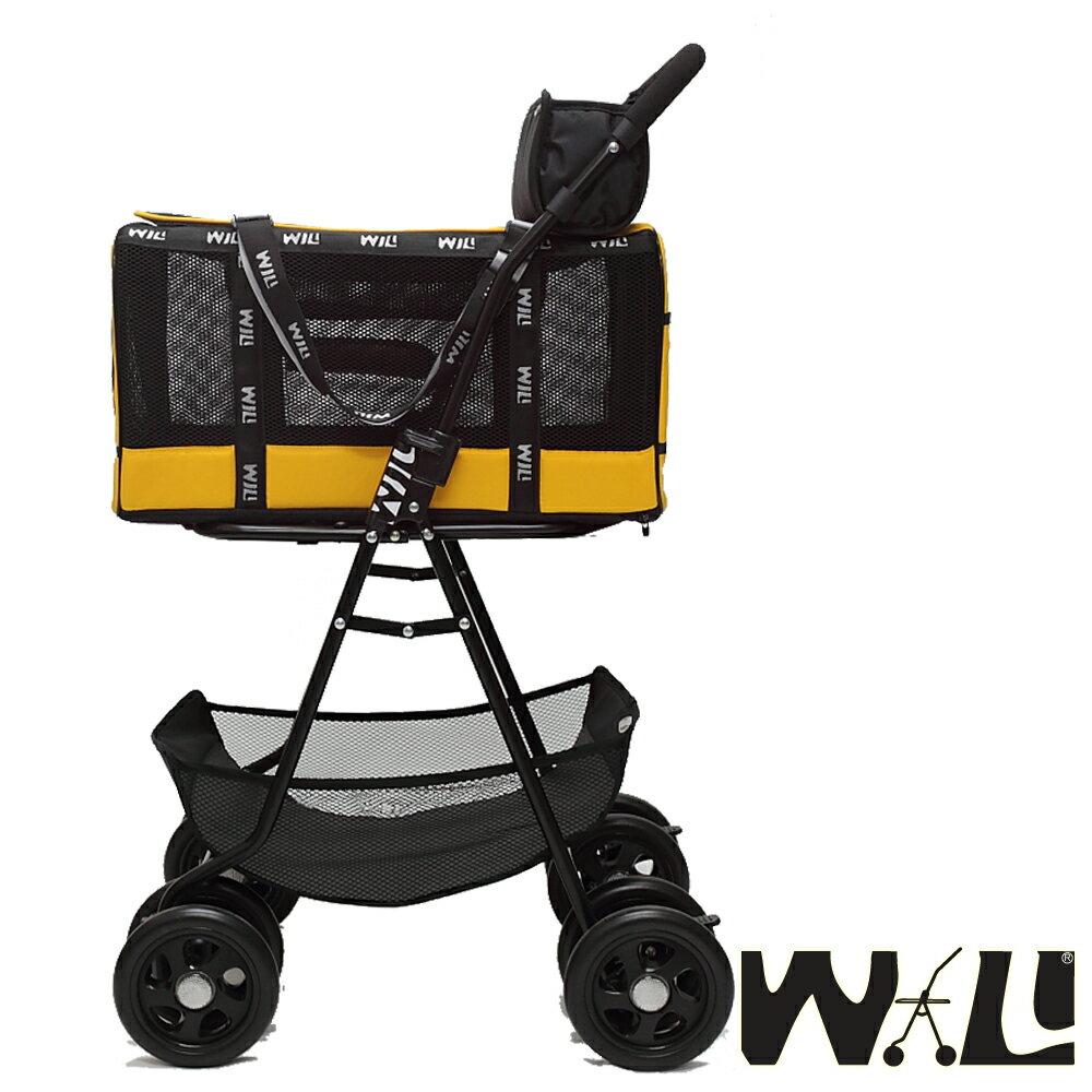 【WILL設計 + 寵物用品】雙層萬搭可拆式推車+WB03極透氣抗夏黑網#堅尼黃