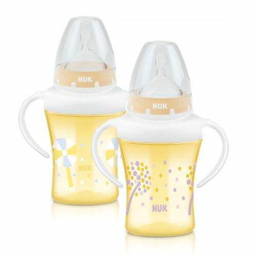 ★衛立兒生活館★NUK 寬口徑雙柄透明學習奶瓶(學習杯)200ml,附1號寬口徑矽膠奶嘴(款式隨機出貨)