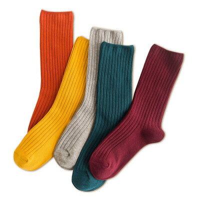 網紅款堆堆襪女日系秋冬襪子純棉款女士襪子純色學院風百搭中筒襪 1