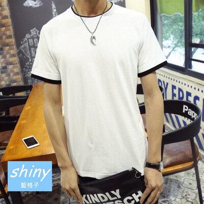 【Y034】shiny藍格子-休閒潮男.日系純色修身圓領假兩件短袖T恤