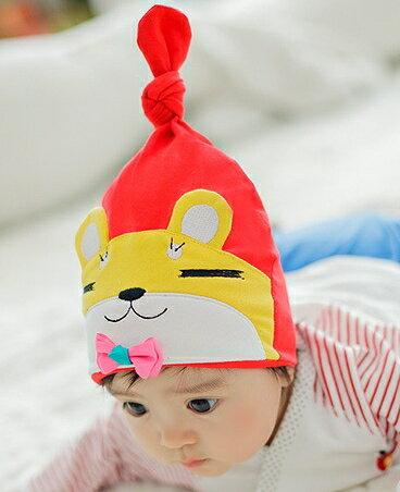 Lemonkid◆俏皮眯眼熊舒適彈性兒童 扭結套頭帽~黃色