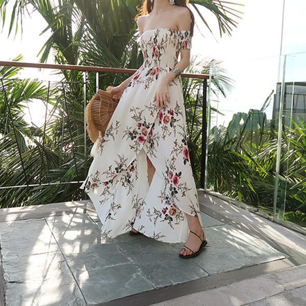PS Mall 渡假風連身裙 雪紡印花長裙 一字領露肩裙子 洋裝【T047】 1