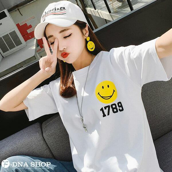 F-DNA★笑臉1789前後印圖圓領短袖上衣T恤(2色-M-2XL)【ET12717】 2