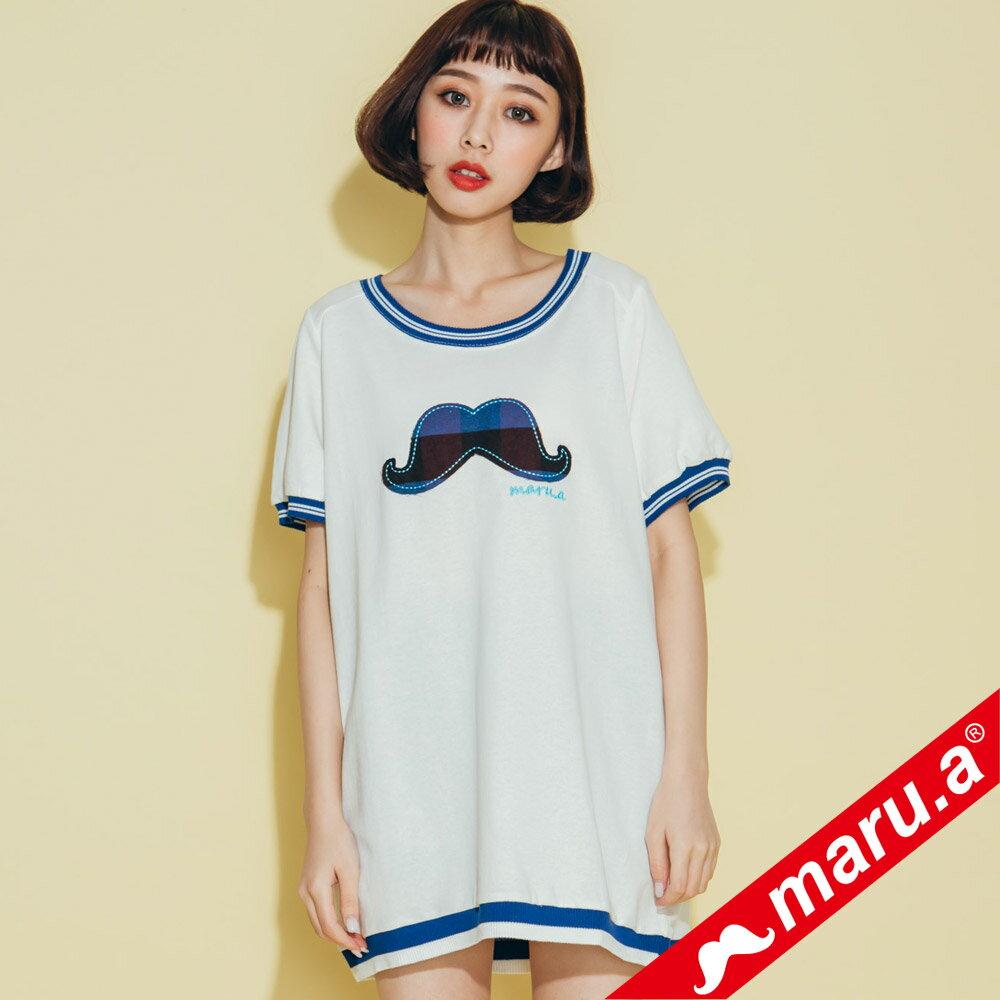 【maru.a】大鬍子撞色羅紋T-Shirt(2色)8321316 0