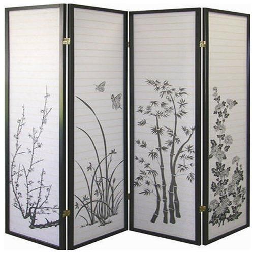 4 Panels Shoji Bambo Style Screen Room Divider, Legacy Decor
