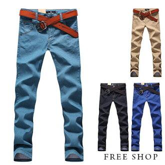 Free Shop【QMD55536】日韓系純色素面單寧皮標口袋剪裁休閒長褲工作長褲牛仔褲.四色