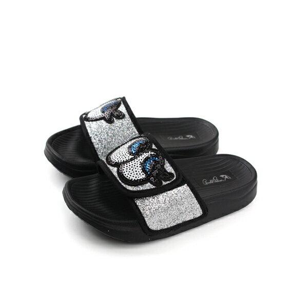 ArnoldPalmer拖鞋銀色黑底亮粉中童童鞋884710-820no933