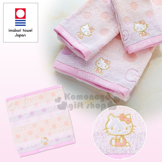 〔小禮堂〕Hello Kitty 方型毛巾《淺紫.圓圈.34x35cm》Imbari Towel 今治毛巾
