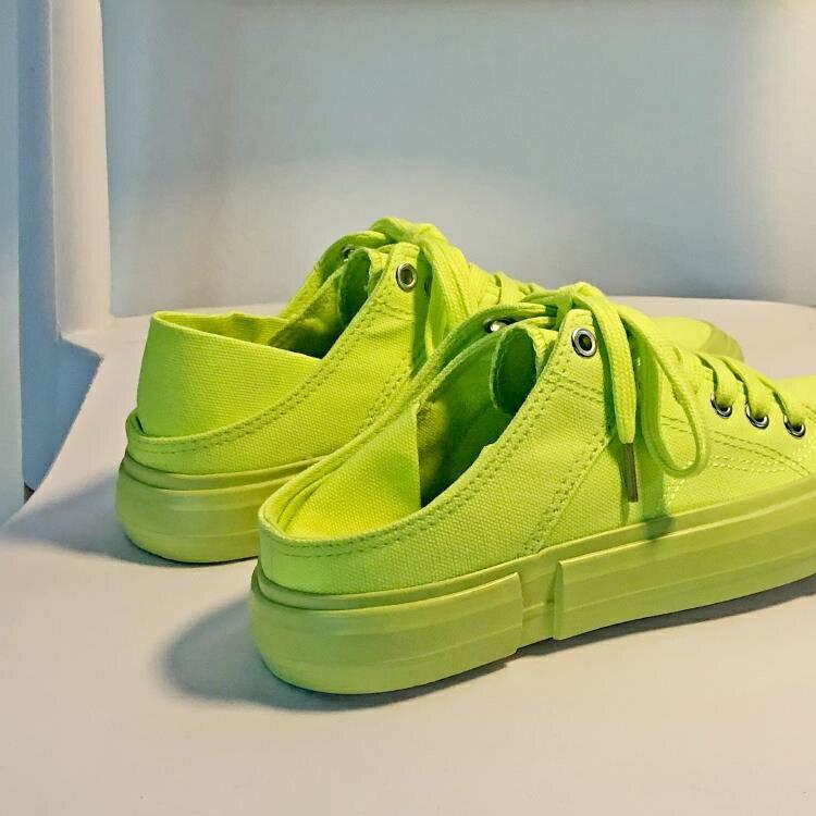 半拖鞋 可踩無后跟綠色帆布鞋女半拖泫雅風韓版學生百搭ulzzang網紅板鞋 快速出貨