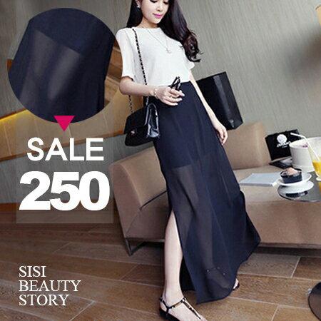 SISI~P6013~浪漫氣質飄逸百搭假兩件雪紡開叉顯瘦半身長裙
