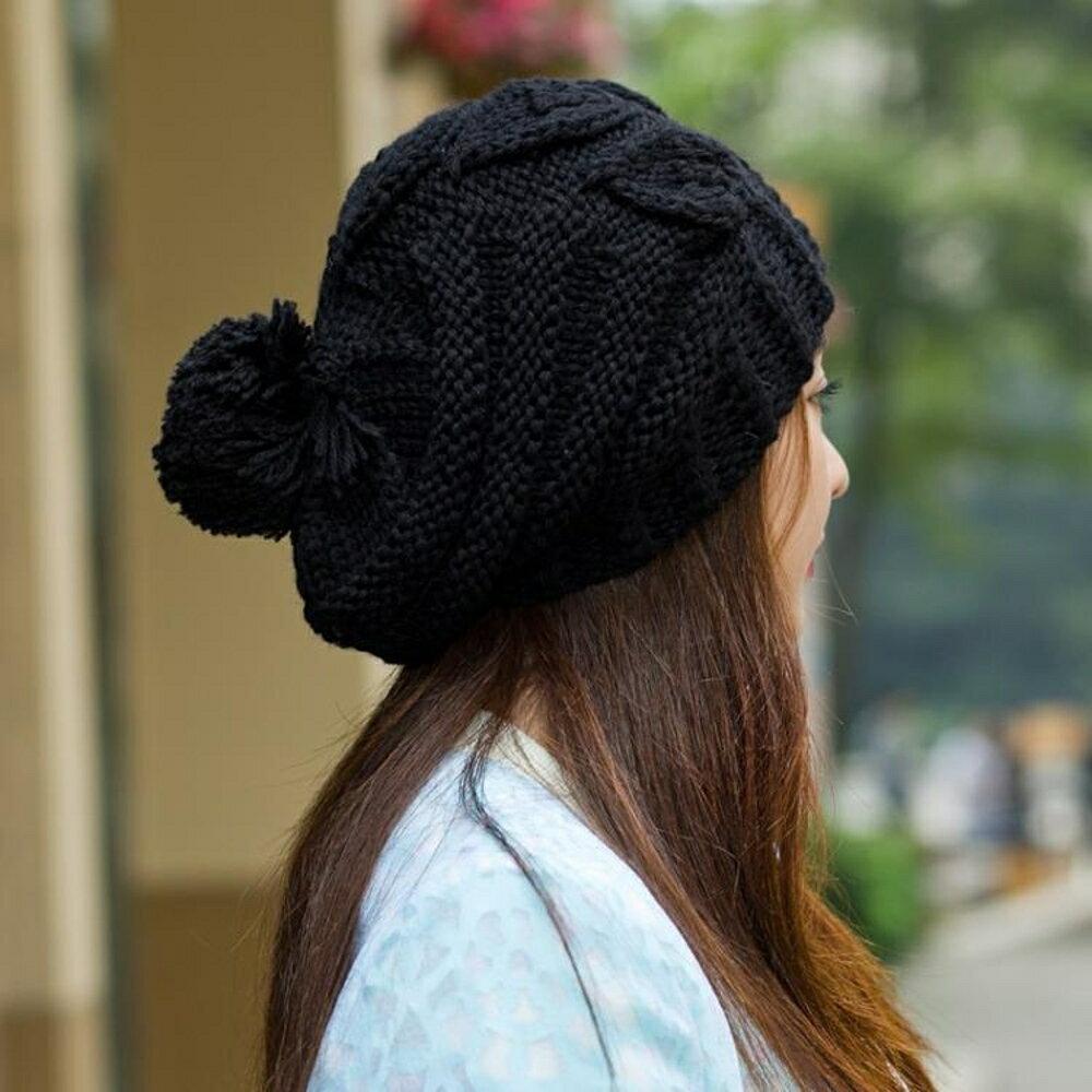 帽子女毛線休閒百搭韓版潮針織學生可愛羊毛時尚英倫 露露日記