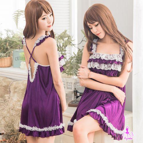 性感睡衣情趣睡衣星光密碼【A008】清新夢幻深紫柔緞交叉美背情趣性感睡衣