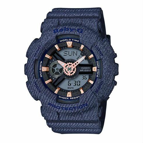 CASIOBABY-GBA-110DE-2A1牛仔丹寧流行時尚雙顯腕錶43mm
