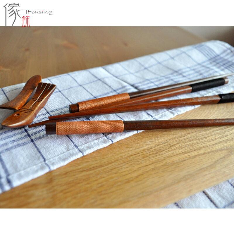日式和風天然木製餐具 繞線尖頭木筷子天然木質壽司筷子 K002