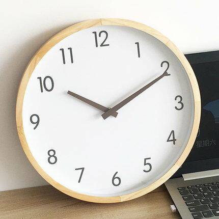 壁鐘 北歐實木掛鐘客廳鐘錶創意家用掛表壁鐘靜音簡約現代家居石英鐘表『SS2784』