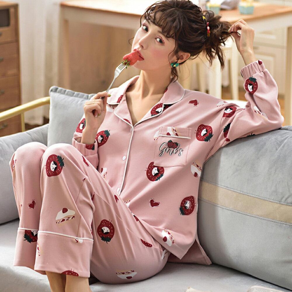針織棉面料翻領睡衣家居服套裝(圖片色M~3XL)【OREAD】 0