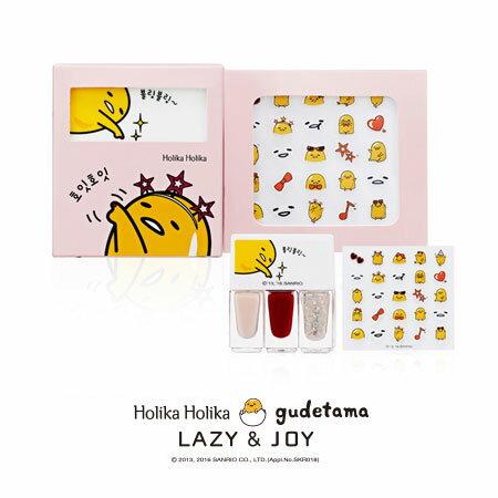 韓國 Holika Holika 蛋黃哥甜點派對指甲油組^(指甲油4gx3瓶 貼紙x1張^