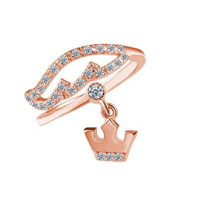 925純銀戒指鑲鑽銀飾~奢華閃耀皇冠 母親節生日情人節 女飾品2色73dx44~ ~~米蘭