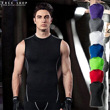 Free Shop 男健身服打籃球慢跑步訓練服彈力壓縮吸濕排汗冰爽透氣速乾衣運動緊身衣背心【QBBYL6290】
