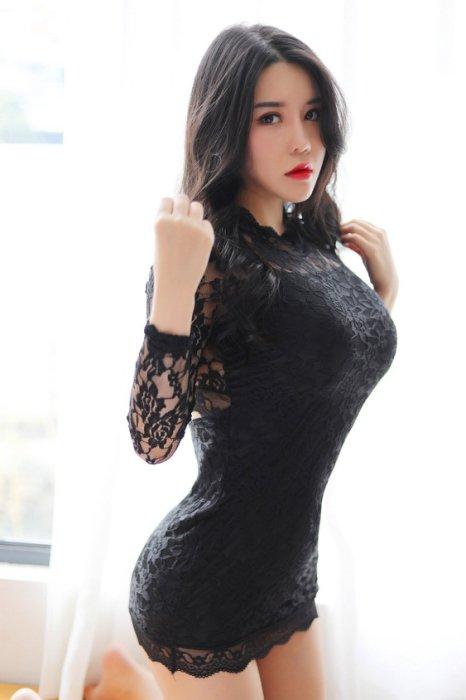新款性感玫瑰花蕾絲誘惑緊身旗袍連身裙夜店包臀洋裝 2色 LL8302